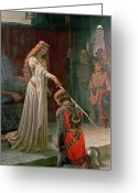 Edmund Blair (1853-1922) Greeting Cards - The Accolade Greeting Card by Edmund Blair Leighton