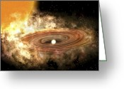 Binary Stars Greeting Cards - The Accretion Disk Around The Binary Greeting Card by Stocktrek Images