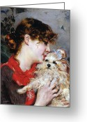 Half Length Greeting Cards - The actress Rejane and her dog Greeting Card by Giovanni Boldini
