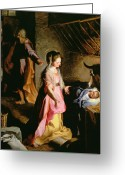Christmas Greeting Cards - The Adoration of the Child Greeting Card by Federico Fiori Barocci or Baroccio