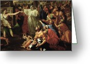 Sacrifice Greeting Cards - The Adoration of the Golden Calf Greeting Card by Nicolas Poussin