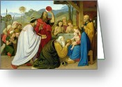 Wise Man Greeting Cards - The Adoration of the Kings Greeting Card by Bridgeman