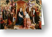 Nativities Greeting Cards - The Adoration of the Kings Greeting Card by Master of Saint Severin
