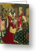 Nativities Greeting Cards - The Adoration of the Magi Greeting Card by Absolon Stumme 