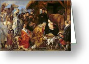 Nativities Greeting Cards - The Adoration of the Magi Greeting Card by Jacob Jordaens