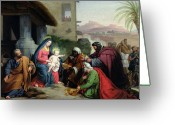 Adoration Greeting Cards - The Adoration of the Magi Greeting Card by Jean Pierre Granger