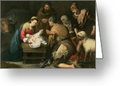 Jesus Painting Greeting Cards - The Adoration of the Shepherds Greeting Card by Bartolome Esteban Murillo