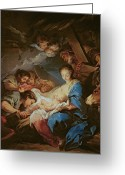 Cherubs Greeting Cards - The Adoration of the Shepherds Greeting Card by Charle van Loo