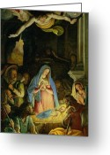 Shepherds Greeting Cards - The Adoration of the Shepherds Greeting Card by Federico Zuccaro