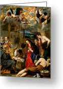 Adoration Greeting Cards - The Adoration of the Shepherds Greeting Card by Fray Juan Batista Maino or Mayno