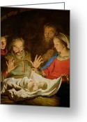 Shepherd Painting Greeting Cards - The Adoration of the Shepherds Greeting Card by Matthias Stomer