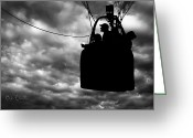 Silhouette Greeting Cards - The Adventure Begins  Hot Air Balloon Greeting Card by Bob Orsillo