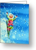 Children Book Illustrator Greeting Cards - The Aerial Skier 12 Greeting Card by Hanne Lore Koehler