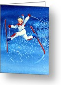 Children Book Illustrator Greeting Cards - The Aerial Skier 16 Greeting Card by Hanne Lore Koehler