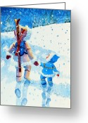 Ski Art Painting Greeting Cards - The Aerial Skier - 2 Greeting Card by Hanne Lore Koehler