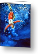 Ski Art Painting Greeting Cards - The Aerial Skier 20 Greeting Card by Hanne Lore Koehler