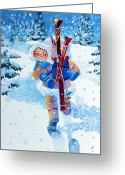 Ski Art Painting Greeting Cards - The Aerial Skier - 3 Greeting Card by Hanne Lore Koehler