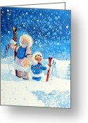 Ski Art Painting Greeting Cards - The Aerial Skier - 4 Greeting Card by Hanne Lore Koehler