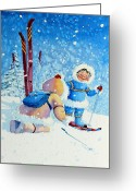Ski Art Painting Greeting Cards - The Aerial Skier - 5 Greeting Card by Hanne Lore Koehler