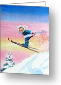 Ski Art Painting Greeting Cards - The Aerial Skier - 7 Greeting Card by Hanne Lore Koehler