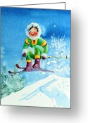 Ski Art Painting Greeting Cards - The Aerial Skier - 9 Greeting Card by Hanne Lore Koehler