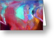 Music Inspired Art Greeting Cards - The Afterglow Greeting Card by Linda Sannuti