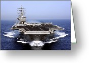 Strike Greeting Cards - The Aircraft Carrier Uss Dwight D Greeting Card by Stocktrek Images