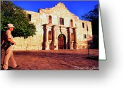 Alamo Greeting Cards - The Alamo and Ranger Greeting Card by Thomas R Fletcher