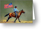"\""old Glory\\\"" Greeting Cards - The All American Cowboy Greeting Card by Randy Follis"