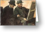 Two Men Greeting Cards - The Amateurs  Greeting Card by Edgar Degas