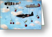 Bombers Greeting Cards - The Amazing Race 5 Greeting Card by Leah Saulnier The Painting Maniac