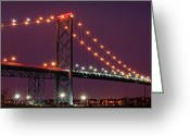 Made In The Usa Digital Art Greeting Cards - The Ambassador Bridge at Night - USA To Canada Greeting Card by Gordon Dean II