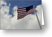 United We Stand Greeting Cards - The American Flag Blowing In The Breeze Greeting Card by Stocktrek Images