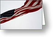 Red White And Blue Greeting Cards - The American Flag Blows In The Wind Greeting Card by Stacy Gold