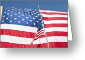 Veteran Photography Greeting Cards - The American Flag Hangs Greeting Card by Stocktrek Images