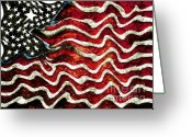 4th July Mixed Media Greeting Cards - The American Flag Greeting Card by Mimo Krouzian