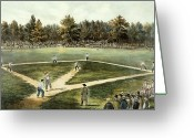 Fielding Greeting Cards - The American National Game of Baseball Grand Match at Elysian Fields Greeting Card by Currier and Ives