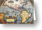 Antique Map Digital Art Greeting Cards - The Americas, 1587 Map By Abraham Ortelius Greeting Card by Fototeca Storica Nazionale