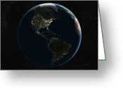 America The Continent Greeting Cards - The Americas At Night, Satellite Image Greeting Card by Planetobserver