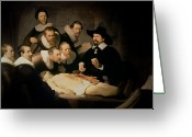 Canvas Greeting Cards - The Anatomy Lesson of Doctor Nicolaes Tulp Greeting Card by Rembrandt Harmenszoon van Rijn