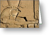 Archaeology Archeological Greeting Cards - The ancient Egyptian god Horus sculpted on the wall of the First Pylon at the Temple of Edfu Greeting Card by Sami Sarkis