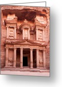 Gorge Greeting Cards - The ancient Treasury Petra Greeting Card by Jane Rix