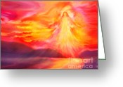 Guardian Angel Greeting Cards - The Angel of Protection Greeting Card by Glenyss Bourne