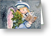 Mink Greeting Cards - The Angel Sings Greeting Card by Mindy Newman