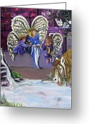 Religious Artwork Painting Greeting Cards - The Angels Greeting Card by Toni  Thorne