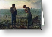Woman Greeting Cards - The Angelus Greeting Card by Jean-Francois Millet