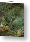 Fishers Greeting Cards - The Angler Greeting Card by Francois Boucher