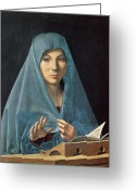 Veil Greeting Cards - The Annunciation Greeting Card by Antonello da Messina