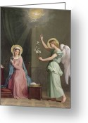 Angel Painting Greeting Cards - The Annunciation Greeting Card by Auguste Pichon