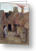 Virgin Maria Greeting Cards - The Annunciation Greeting Card by Luc Oliver Merson